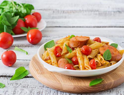 Pasta pomodorini freschi e wurstel
