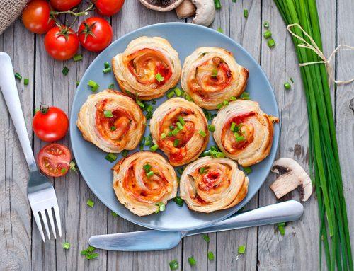 Girelle di prosciutto, formaggio e funghi